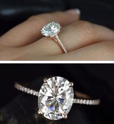 Oval engagement ring.