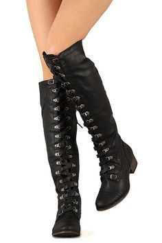 Military Lace Up Over the Knee High Boots Vegan Leather Black