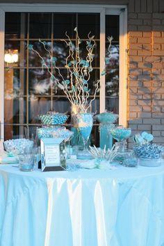 Blue wedding candy buffet