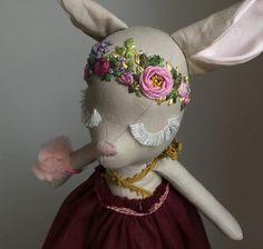 handmade maroon fawn cloth doll with hand embroidered flower crown with peonies and roses wearing tulle dress with lace detail by ears & dears