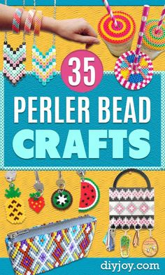 DIY Perler Bead Crafts - Easy Crafts With Perler Beads - Cute Accessories and Homemade Decor That Make Creative DIY Gifts - Plastic Melted Beads Make Cool Art for Walls, Jewelry Hand Made Presents for DIY Christmas Gifts for Mom, Dad Diy Perler Bead Crafts, Diy Perler Beads, Pearler Beads, Easy Homemade Gifts, Diy Gifts For Mom, Homemade Crafts, Creative Crafts, Fun Crafts, Crafts For Kids