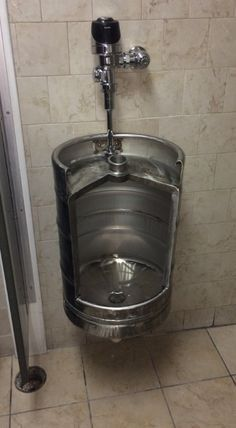 restaurant bar Beer Keg Urinal - Stainless Novelty Toilet for Bistro, Cafe, Restaurant, Winebar, Brewery or Man Cave