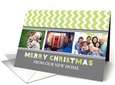 3 Photo Merry Christmas We've Moved Card - Grey Green Chevron card by Dreaming Mind Cards Merry Christmas, Family Christmas Cards, Xmas Cards, Holiday Cards, Holiday Ideas, Chevron Cards, New Home Wishes, Green Chevron, Army Life