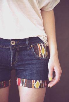 shorts jeans customizado com tecido na barra