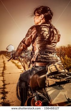 American Biker Art | Biker girl in a leather jacket on a motorcycle looking at the sunset ...