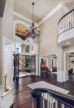 2 story foyer lighting chandeliers stairs 25 new Ideas House Design, New Homes, House Plans, House Interior, House Rooms, House, Foyer Decorating, Home, Stone Houses