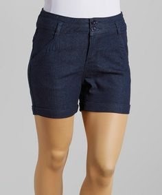 Another great find on #zulily! Dark Blue Denim Shorts - Plus #zulilyfinds