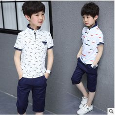 Kids boys short-sleeved suit 2017 summer children's cotton casual Polo T-shirt big virgin piece shorts girls clothes 3-14 years
