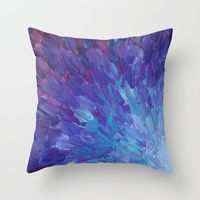 Throw Pillow featuring SCALES OF A DIFFERENT COLOR - Abstract Acrylic Painting Eggplant Sea Scales Ocean Waves Colorful by EbiEmporium
