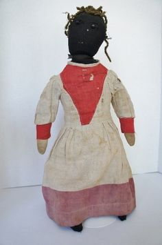 "19th C stockinette black doll shoe button eyes homespun dress 21"""