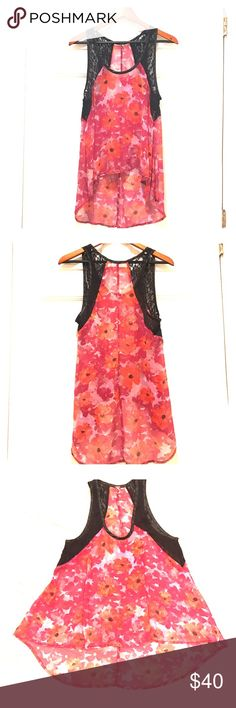 Free People Chiffon & Lace hi-low Tank Beautiful pink and coral flora chiffon High-low tank with black lace detailing by Free People. Excellent like new condition! Free People Tops Tank Tops