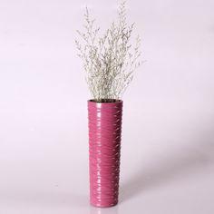 Adeco Decorative 14-inch Purple Horizontal Wave Wood Vase