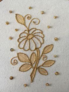 Gold and Metal - Kathleen Laurel Sage Hand Embroidery Videos, Bead Embroidery Patterns, Hand Work Embroidery, Flower Embroidery Designs, Creative Embroidery, Simple Embroidery, Hand Embroidery Stitches, Embroidery Techniques, Zardozi Embroidery