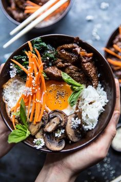 I love any and all Korean food, but Bibimbap has to be one of my favorites. There's just so much going on in one bowl! This Bibimbap with Steak & Gochujang Recipe is sure to be your new favorite take on a Korean staple! Try it today! Healthy Food Recipes, Asian Recipes, Cooking Recipes, Ethnic Recipes, Japanese Food Recipes, Gochujang Recipe, Good Food, Yummy Food, Korean Food