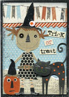 Cute Primitive Trick or Treat Card...love this!!