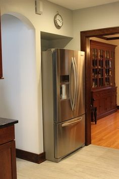 Kitchenaid French Door Refrigerator Is Recessed Into A Wall Area In Kitchen Remodeled By Village Home S Houzz
