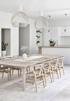 80 Heavenly Modern Farmhouse Dining Room Decor Ideas - Page 77 of 84 Comfortable Dining Chairs, Esstisch Design, Farmhouse Dining Room Table, Coastal Dining Rooms, White Dining Room Furniture, White Dining Room Table, Rattan Dining Chairs, Appartement Design, Dining Room Inspiration