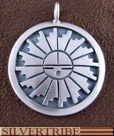 Hopi Indian Jewelry George Phillips Silver Sun Pendant TS56539