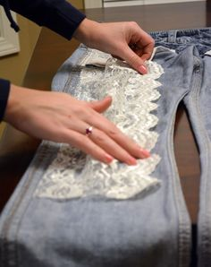 So Miscellaneous: DIY Lace Jeans (easy fix) # Easy DIY clothes Denim And Lace, Clothes Crafts, Sewing Clothes, Diy Lace Jeans, Diy Lace Shorts, Lace Pants, Refaçonner Jean, Jeans Refashion, Patched Jeans