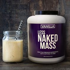 Vanilla Less Naked Mass Best Mass Gainer, Build Muscle Mass, Protein Shakes, High Protein, Protein Supplements, Shake Recipes, Calorie Diet, Diet And Nutrition, Weight Gain