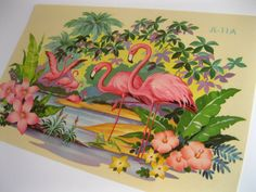 flamingo decal transfer with hibiscus flowers - Vintage 1940s style - extra large size