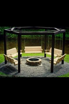 Relaxing swings around fire pit  Great idea. We'd likely add a hammock and hammock double swing on one side...and then add swings for the kids...and finally 2 bench swings for the adults!