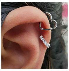 Daith Piercing, Piercing Face, Cute Ear Piercings, Heart Piercing, Cartilage Piercing Hoop, Helix Piercing Jewelry, Mouth Piercings, Female Piercings, Ear Piercings