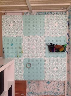 stenciled pegboard organizer, crafts, how to, organizing, wall decor Effective . Pegboard Ikea, Painted Pegboard, Pegboard Organization, Kitchen Pegboard, Studio Organization, Stenciled Table, Diy Shed, Stencil Patterns, Craft Corner
