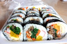 Gimbap (korean maki roll)  Do you know sushi (specifically, maki rolls)? Do you know bibimbap? Well, put 'em together and you have gimbap. It's like bibimbap rolled up in nori.