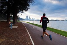Jogging along Swan River in Perth
