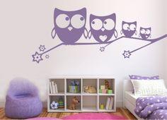 Ideal Wandtattoo Wandtattoo Kinderzimmer Eulenfamilie auf Ast ein Designerst ck von fleurdelis wandtattoo bei DaWanda