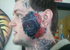 Probably the Worst 'Star Wars' Tattoo You Will Ever See Bad Face Tattoos, Facial Tattoos, Cool Tattoos, Worst Tattoos, Tatoos, Terrible Tattoos, Head Tattoos, Amazing Tattoos, Life Tattoos