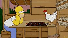 Homer Simpson or A Chicken. who is smarter? Simpson Wave, Lisa Simpson, Simpsons Simpsons, Simpson Tumblr, Los Simsons, Goat Cartoon, Cartoon Tv Shows, Futurama, Cool Cartoons