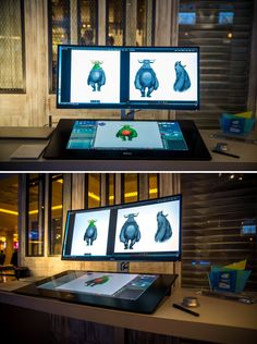 The Dell Canvas is a low-cost version of Wacom's Cintiq - Digital Arts animation studio Computer Desk Setup, Gaming Room Setup, 3d Studio, Studio Setup, Bureau D'art, Artist Workspace, Graphisches Design, Home Office Setup, Art Desk