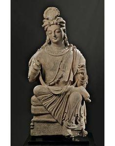 Bodhisattva. Terracotta. Height 102 cm. Pakistan, Gandhara, 4th-5th century.