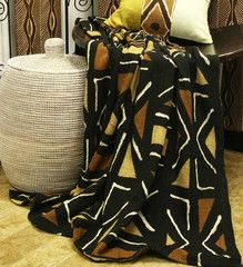 Hand-Dyed African Mudcloth Blanket - Home Decor Handmade in Africa - Swahili Modern - 1