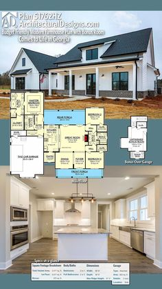 Budget Friendly Modern Farmhouse Plan with Bonus Room Emily - This is the House. Architectural Designs House Plan client-built in Georgia. Modern Farmhouse Plans, Farmhouse Style, Farmhouse Layout, Farmhouse Ideas, Farmhouse House Plans, Farmhouse Design, Architectural Design House Plans, Architecture Design, Futuristic Architecture