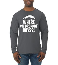 26b58943 Battle Royale Victory Where We Droppin Boys? Mens Pop Culture Long Sleeve  TShirt Charcoal Small