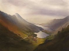 Glaslyn and Llydaw lakes, an original watercolour painting by Rob Piercy Sand Painting, Watercolor Painting Techniques, Nature Paintings, Landscape Paintings, Landscapes, Acrylic Paintings, Watercolor Landscape, Watercolor Art, Art Tutor