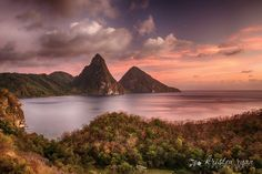 Pitons at sunset by Kristen Ryan