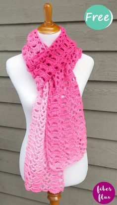 crochet scarves The Heart You Scarf is a beautiful crochet scarf in an all over open fan pattern. Stitched up with gorgeous ombre pink yarn, it is the perfect piece for going from wint Crochet Scarves, Crochet Shawl, Crochet Clothes, Easy Crochet, Crochet Hooks, Free Crochet, Knit Cowl, Crocheted Scarves Free Patterns, Crochet Granny