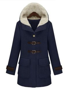 Navy Hooded Long Sleeve Buckle Strap Pockets Coat  - http://www.sheinside.com