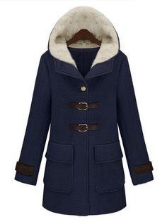 Тёмно-синее с капюшоном карманное пальто US$69.90