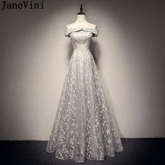 54948445d01 JaneVini Off Shoulder Gray Long Prom Dresses 2019 Beaded Lace Elegant Tulle Women  Formal Dress Party