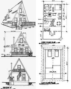 Free A Frame Cabin Plans Blueprints Cons - Home Decor - Marecipe A Frame Cabin Plans, Cabin House Plans, Tiny House Cabin, Tiny House Design, Cabin Homes, Small House Plans, House Floor Plans, A Frame Floor Plans, Triangle House