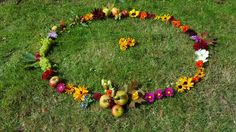 Autumn Equinox flower medicine wheel created to celebrate the abundance of flowers and fruit from our garden farm this year at Orchard Oast Flowers.