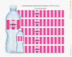 **** THIS IS FOR DIGITAL FILES ONLY. NO ACTUAL PRINTED PRODUCT. **** CUSTOMIZED! Custom Victorias Secret Themed Pink Stripes with Dog Water Bottle Wrapper Labels This is perfect for a Victorias Secret pink striped themed bridal shower or bachelorette party (or any girls party)! Each