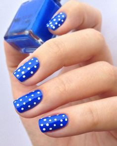 Blue Nail Art Ideas - a universe of creative manicure designs - Beauty Nails Dot Nail Art, Polka Dot Nails, Blue Nails, Polka Dots, Cheetah Nails, Blue Dots, Blue And White Nails, Dot Nail Designs, Fall Nail Art Designs