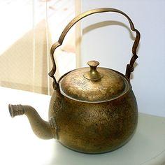 Vintage Brass Etched floral Design Full Size Teapot
