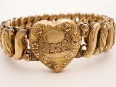 Vintage Carmen Sweetheart Bracelet Expansion Gold Filled Signed Heart DFB Co | eBay